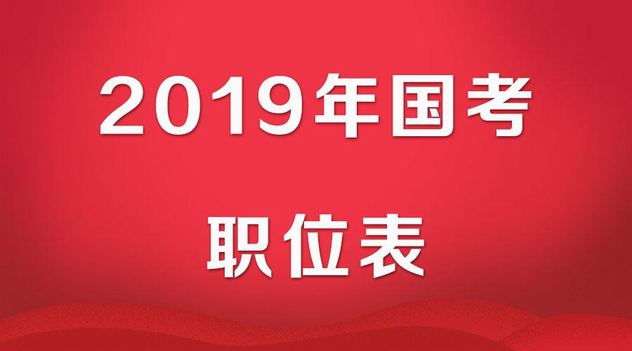 2019年国家公务员考试职位表下载