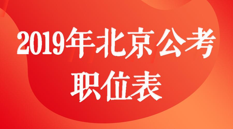2019年北京公务员考试职位表下载